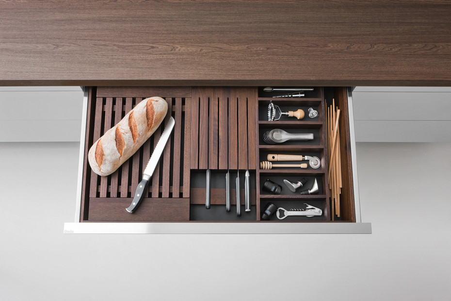 Smoked oak drawers and containers accessories