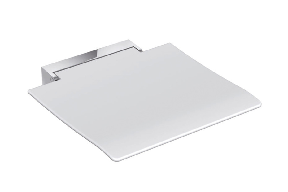 Mobile hinged seat 450 Seat white or anthracite grey, wall bracket made of stainless steel, high-quality chrome-plated