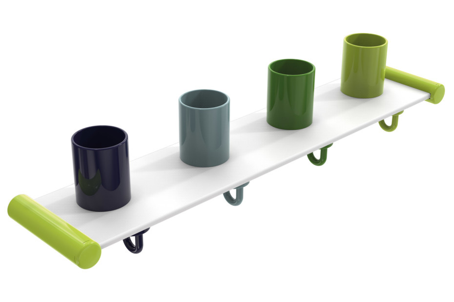 Tumbler rack with hooks, 4 places