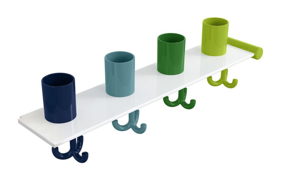 Extension set tumbler rack with hooks, 4 places