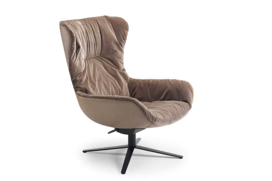 Leya Wingback Chair mit Wipp-/Kippmechanik und Fußkreuzgestell