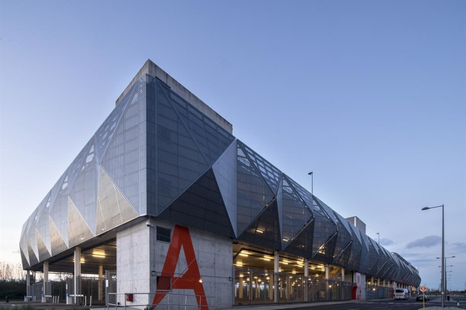 Perforated aluminium cladding, Parkhaus MSCP Queen Elizabeth Olympic Park in London
