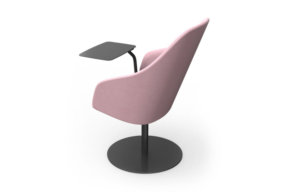 Sola lounge chair with armrests and swivel disc base