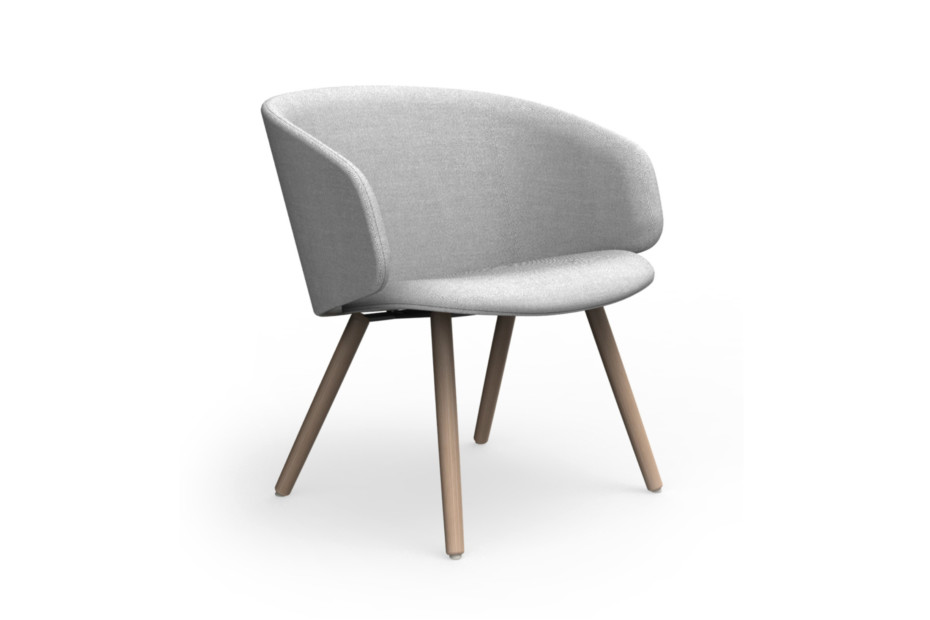 Sola lounge chair with armrests and wooden legs