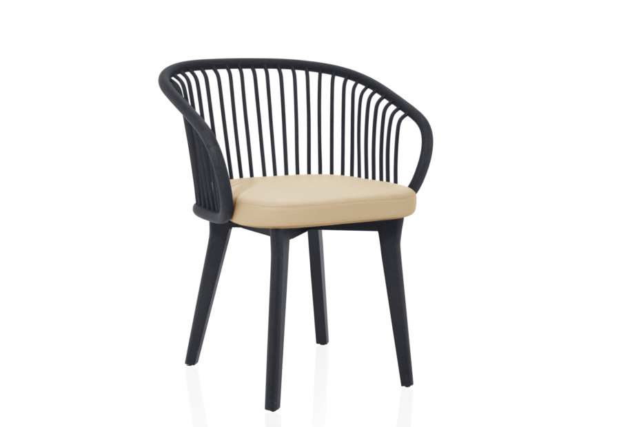 Huma dining armchair with solid wood legs T070 W