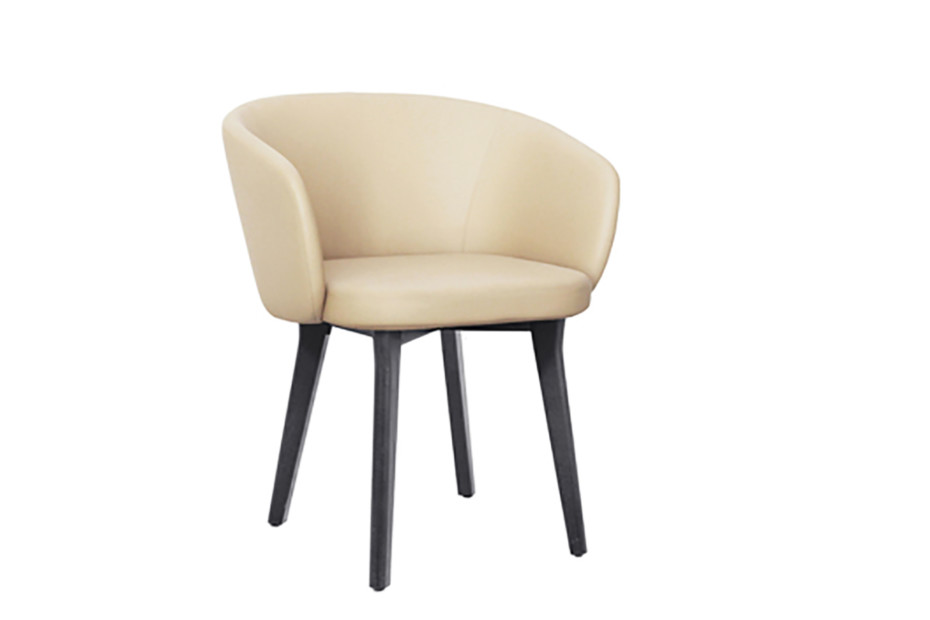 Huma upholstered dining armchair with solid wood legs T071 W