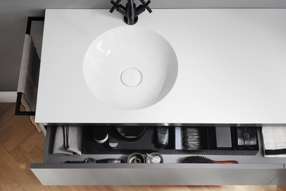 Coco Mineralguss-Waschtisch inkl. Waschtischunterschrank und Metall Fußgestell