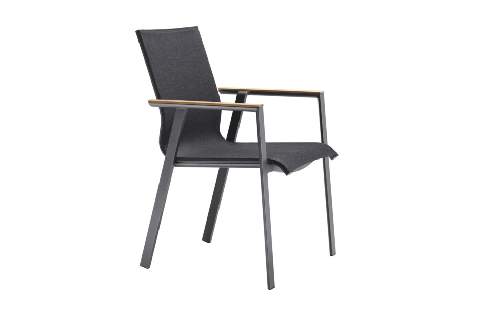 Soul stacking chair with teak-armrest