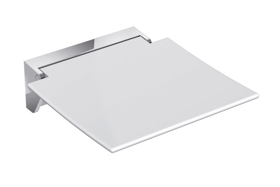 Mobile hinged seat 350 Seat white or anthracite grey, wall bracket made of stainless steel, high-quality chrome-plated