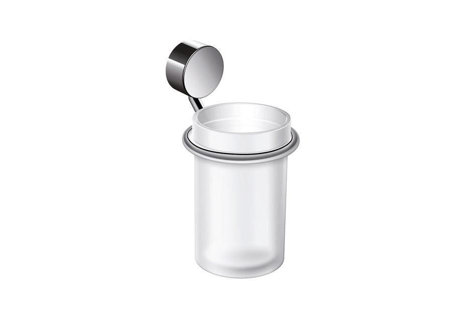 Glass tumbler with holder finish - chrome