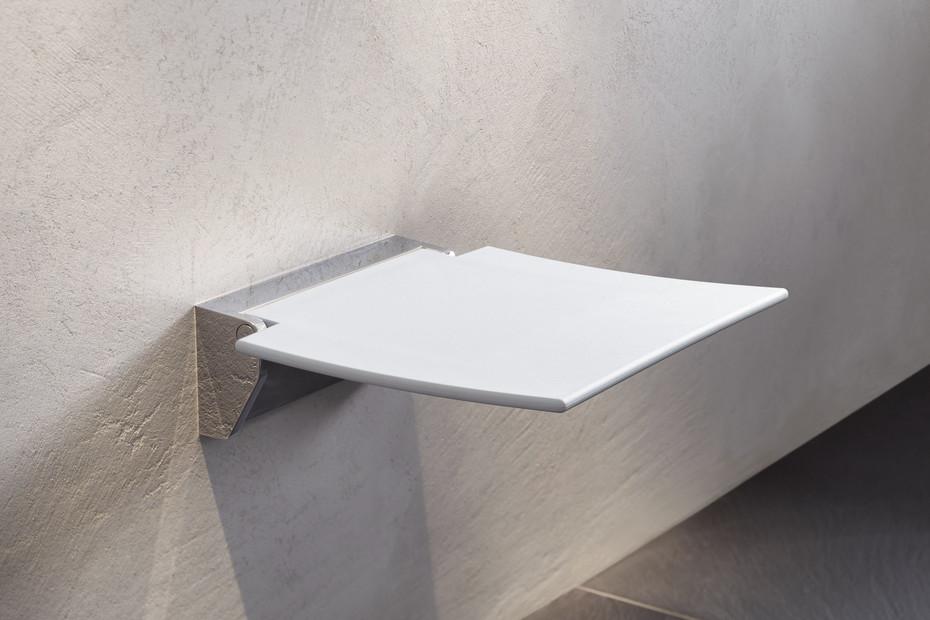 Mobiler Klappsitz 450 Sitzfläche Weiß oder Anthrazitgrau, Wandkonsole aus hochwertigem Edelstahl, hochwertig verchromt