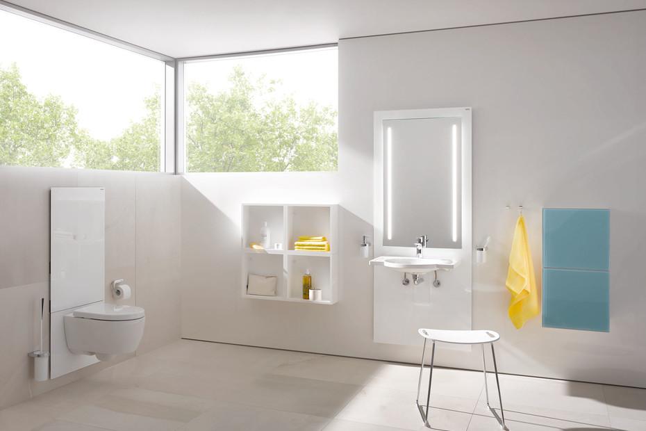 Waschtisch-Modul Weiß, Waschtisch M40.11.501, LED-Lichtspiegel