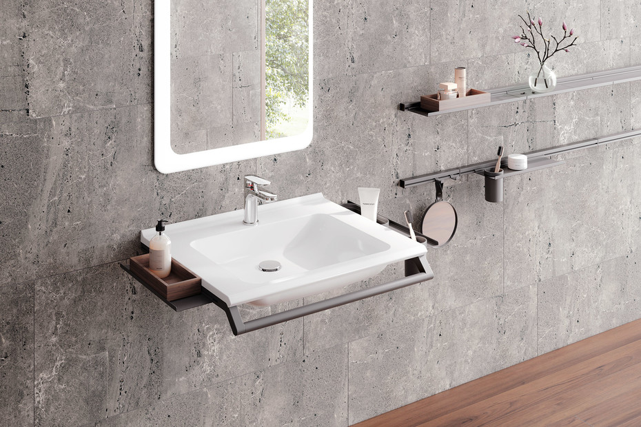 Washbasin profile with shelf