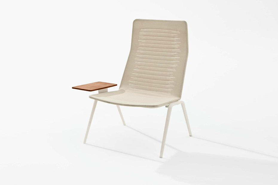 Zebra Knit high-back lounge chair with side table