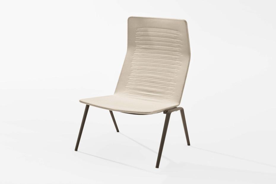 Zebra Knit high-back lounge chair