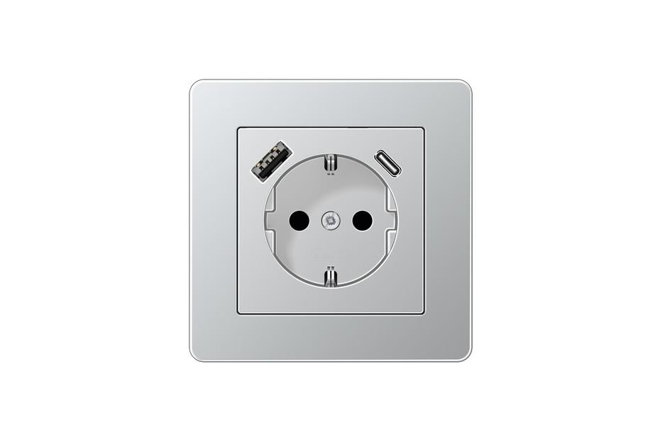 USB-A/C SCHUKO-Steckdose A flow Aluminium