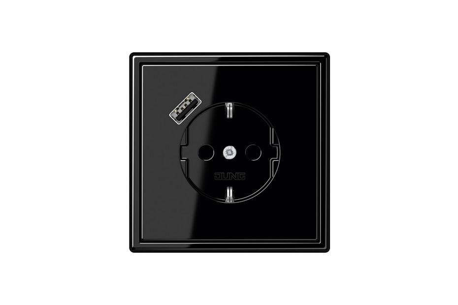 USB-A SCHUKO-Steckdose LS 990 Schwarz mit Quick Charge