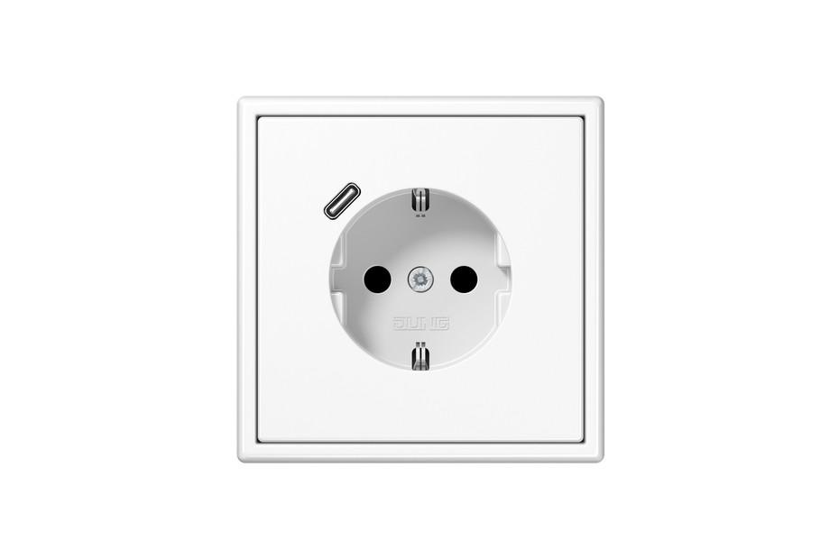 USB-C SCHUKO-Steckdose LS 990 Alpinweiß mit Quick Charge