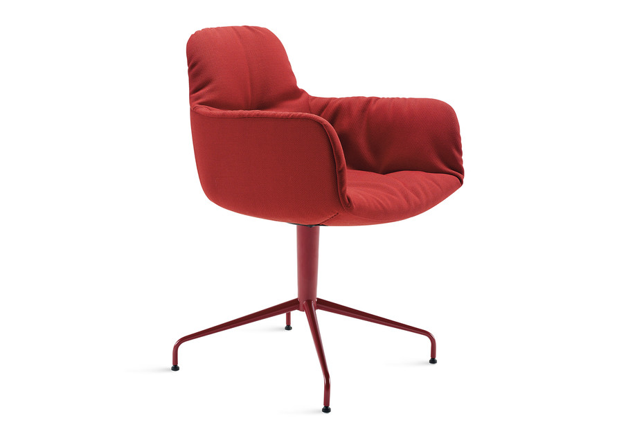 Leya armchair high with trestle leg