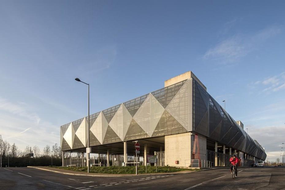 Perforated aluminium cladding, Parkhaus MSCP Queen Elizabeth Olympic Park in London