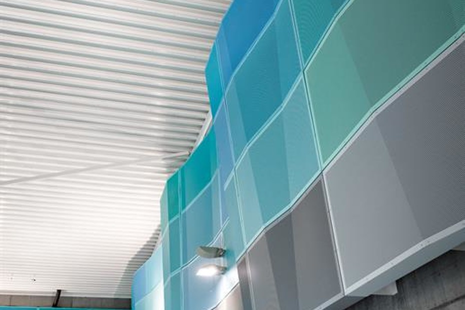 Perforated wave-like cassettes  for sound absorbing, Indoor swimming ppol in Hundvag