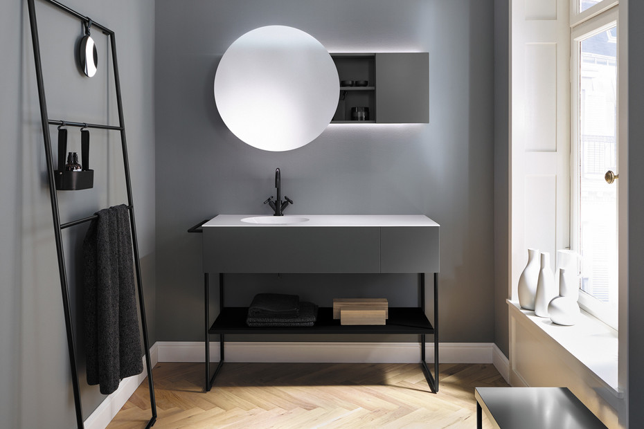 Coco mineral cast washbasin incl. vanity unit and metal legs