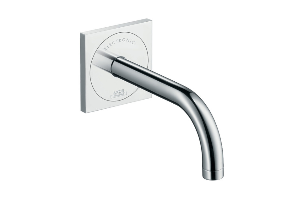 Axor Uno Electronic basin mixer 225, for concealed installation with spout, wall-mounted