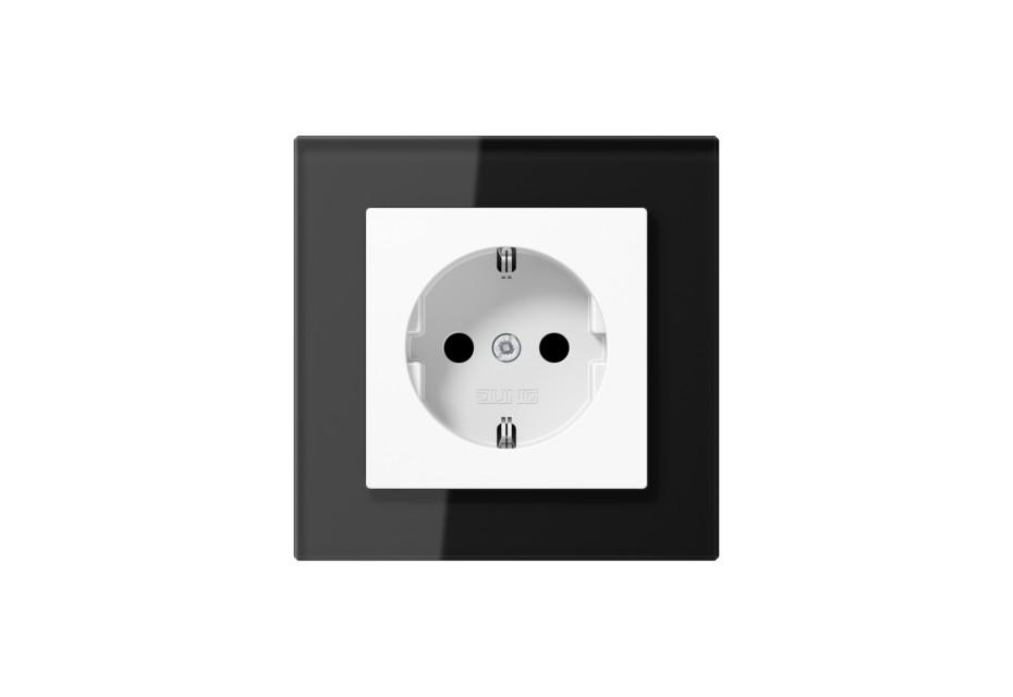 A Creation Glas SCHUKO-Steckdose in schwarz von JUNG | STYLEPARK
