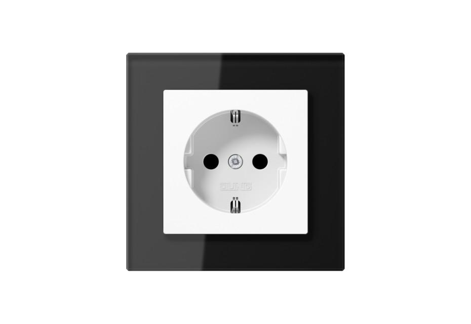 A Creation Glas SCHUKO-Steckdose in schwarz