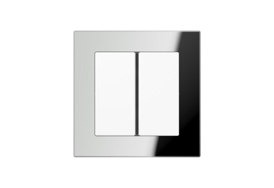 A Creation Glass F40 Push-button sensor 2-gang in silver