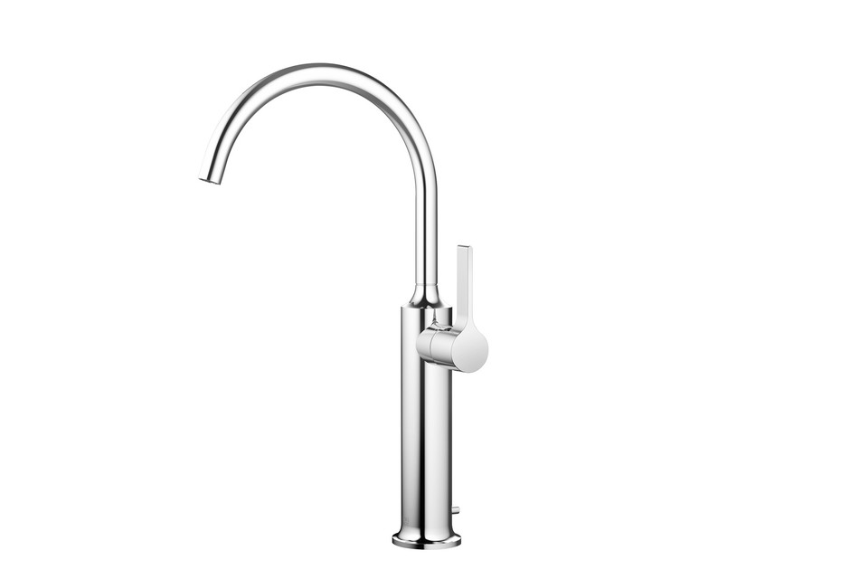 VAIA Single-lever basin mixer with raised base with pop-up waste