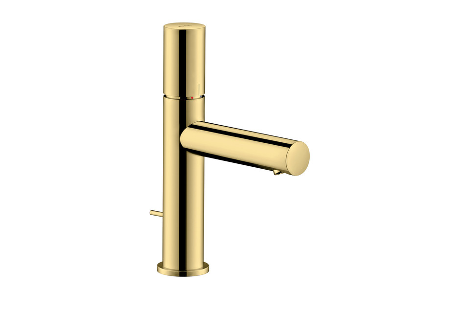 Axor Uno Single lever basin mixer 110, zero handle, with pop-up waste set, polished brass