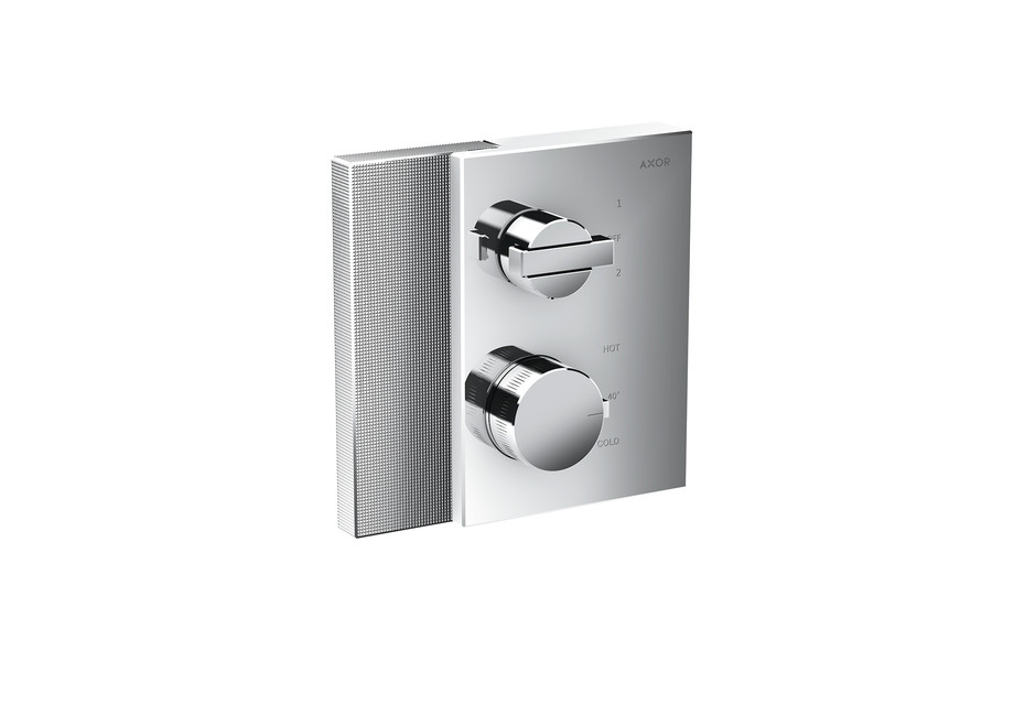 Axor Edge Thermostat with shut-off valve/diventer valve for concealed installation - diamond cut