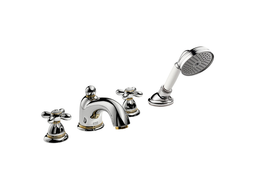 Axor Carlton 4-hole tile mounted bath mixer with cross handles