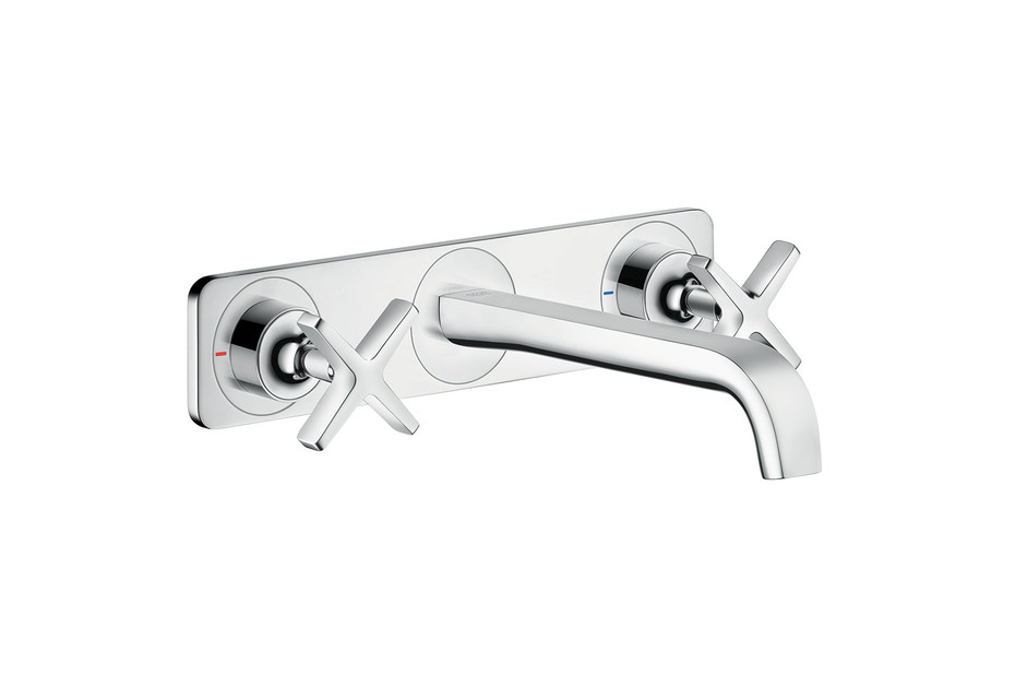 Axor Citterio E 3-hole basin mixer for concealed installation with plate wall-mounted