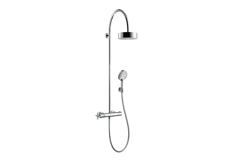 Axor Citterio showerpipe with thermostatic mixer and overhead shower 1jet