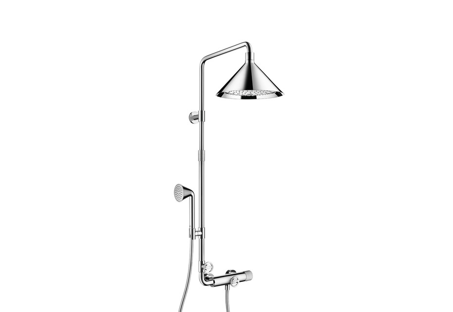 Axor Showerpipe with thermostatic mixer and overhead shower 240 1jet
