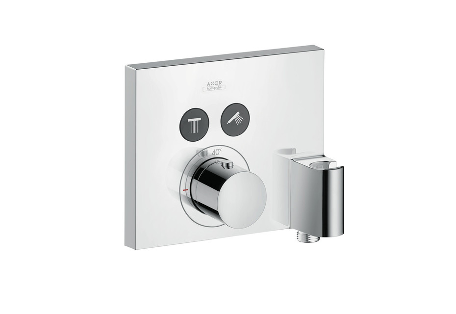 Axor thermostatic mixer for 2 outlets with FixFit and porter unit for concealed installation