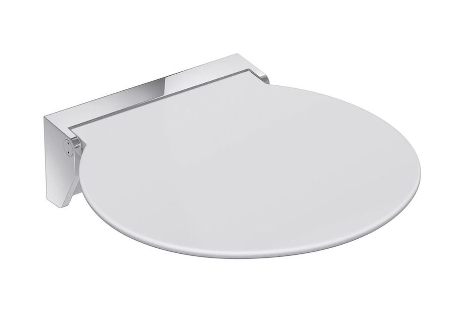 Mobiler Klappsitz R 380 Sitzfläche Weiß oder Anthrazitgrau, Wandkonsole aus hochwertigem Edelstahl, hochwertig verchromt