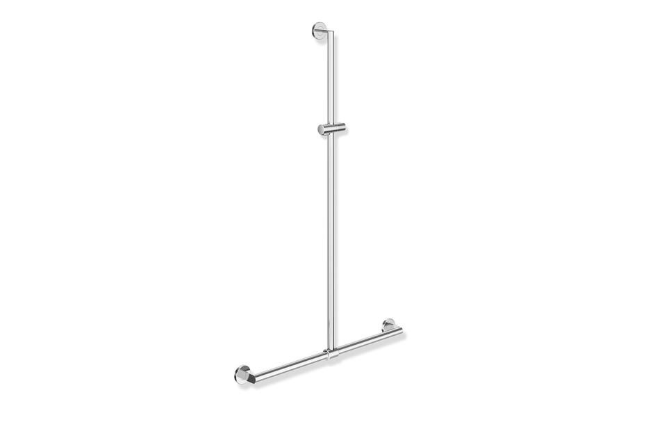 Rail with sideways adjustable vertical support bar and shower head holder chrome