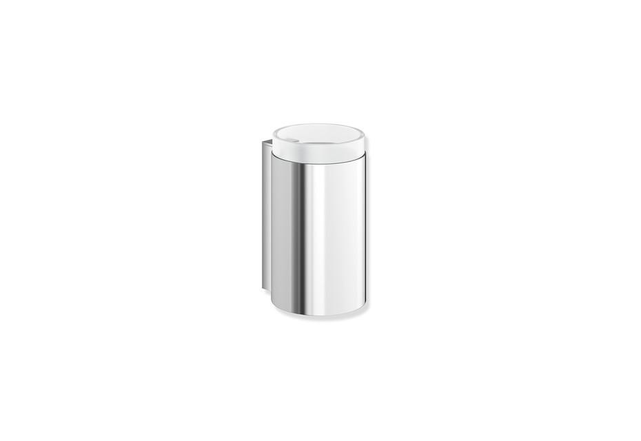 Glass tumbler with holder chrome