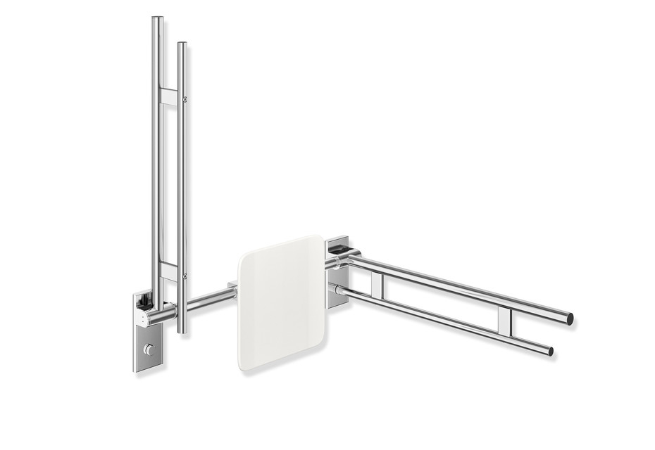Hinged support rail Duo 600 mm projection chrome