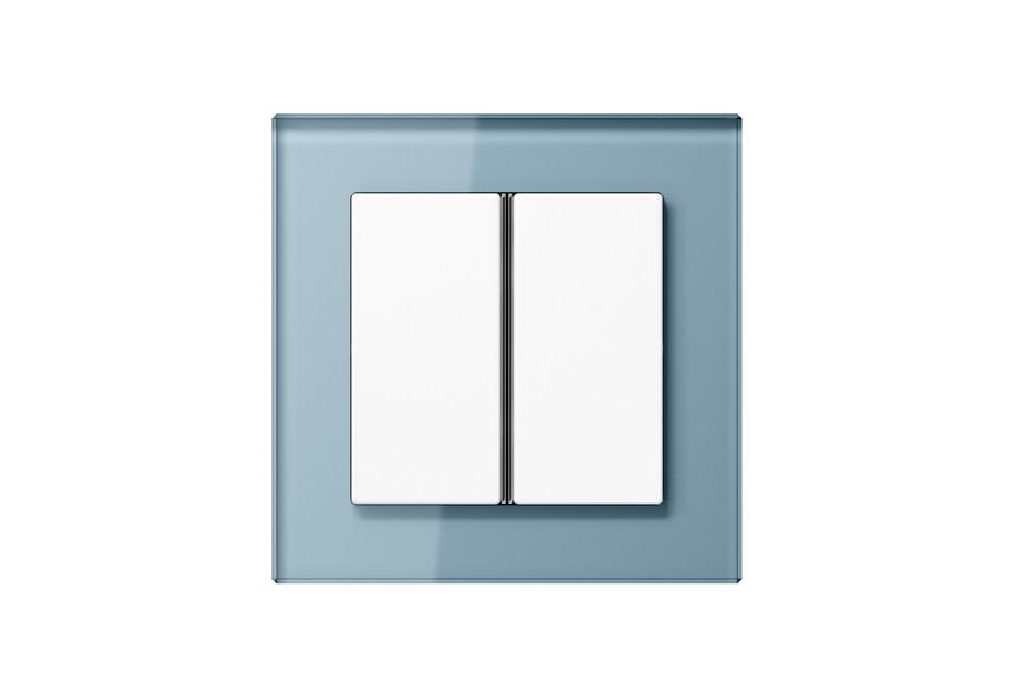 A Creation Glass F40 Push-button sensor 2-gang in blue grey