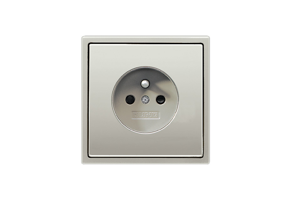 Socket with earth pin, French/Belgian in stainless steel