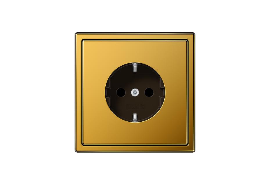 LS 990 SCHUKO-Steckdose in 24 karat gold