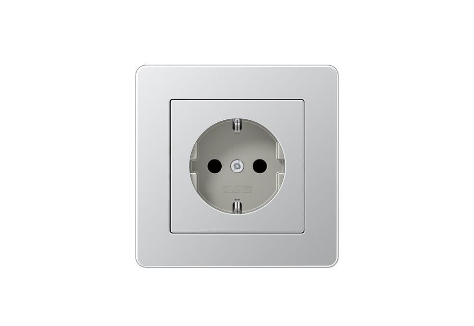 A Flow SCHUKO-Socket aluminium
