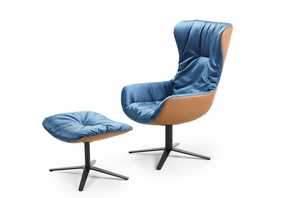 Leya cocktail wingback chair with x-base frame
