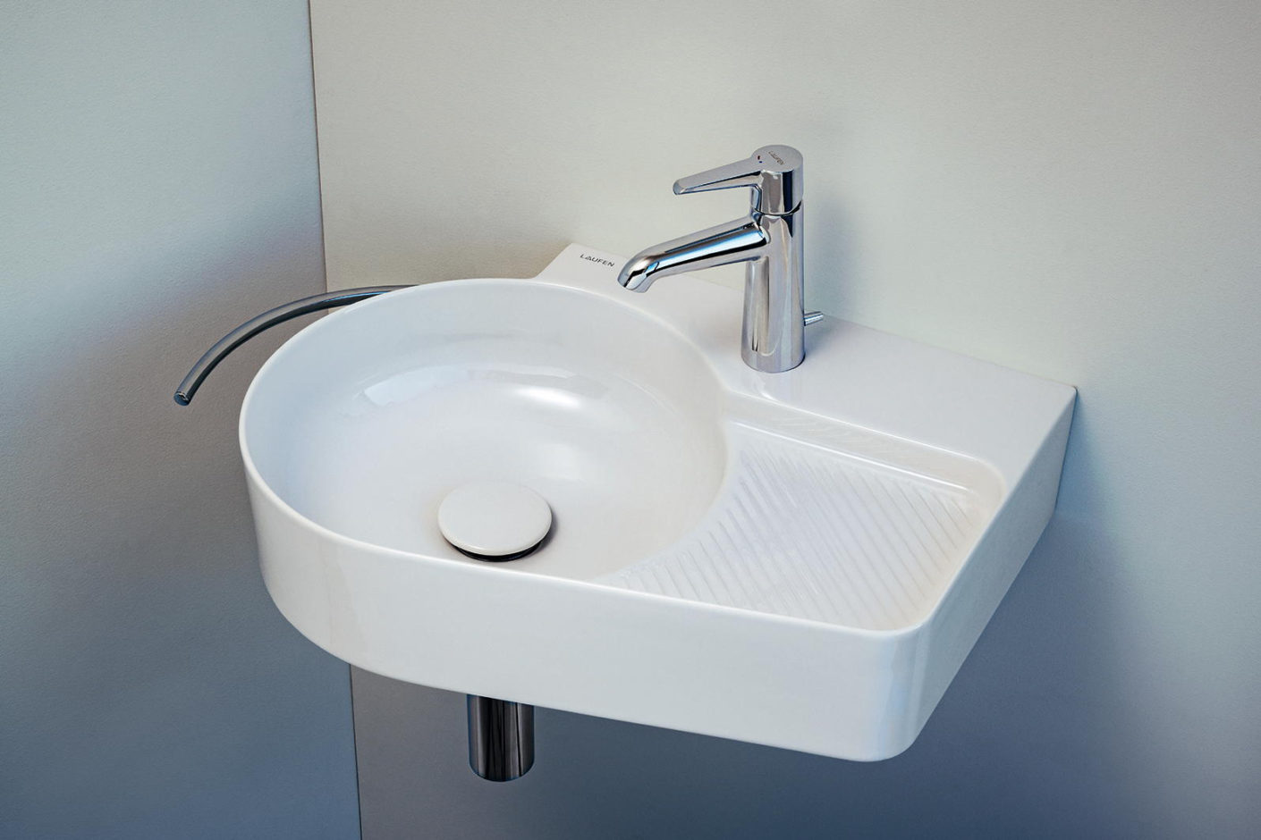 "Compact washbasin by Konstantin Grcic from the ""Val"" series."