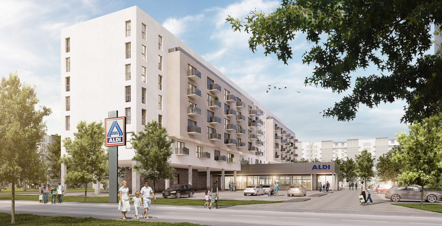By mixed use with its own stores, Aldi Nord wants to create more than 2,000 apartments in Berlin at a maximum of 10 euros cold per square metre.
