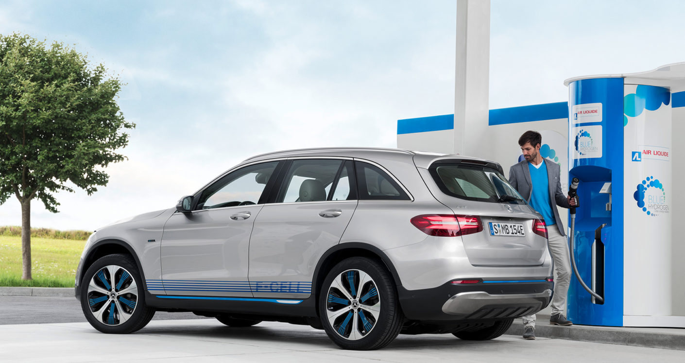 "The ""GLC F-Cell"" from Mercedes is powered by fuel cells and battery technology."